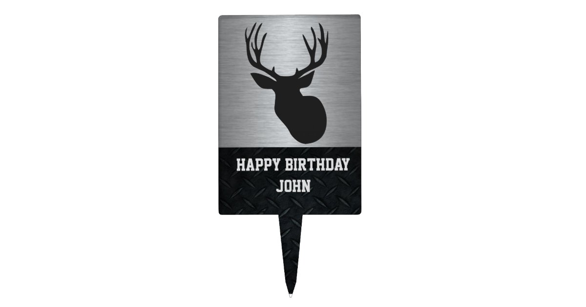 Stupendous Silver And Black Deer Hunting Birthday Cake Topper Zazzle Com Personalised Birthday Cards Veneteletsinfo