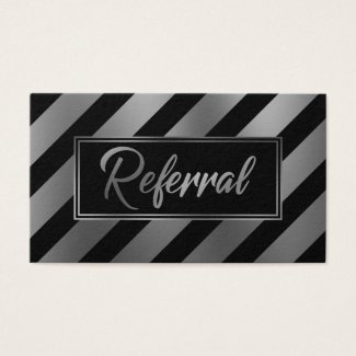 Silver and Black Diagonal Striped Referral Cards