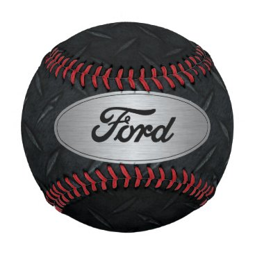 Beach Themed Silver and Black Diamond Plate Ford Baseball