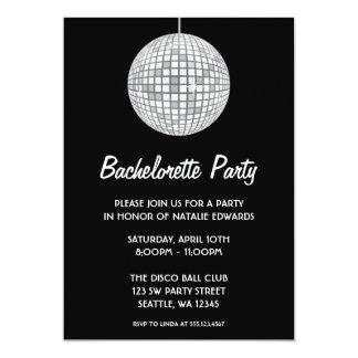 Silver and Black Disco Ball Bachelorette Party 5x7 Paper Invitation Card