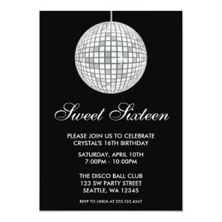 Silver and Black Disco Ball Sweet Sixteen Birthday Card