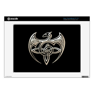 Silver And Black Dragon Trine Celtic Knots Art Acer Chromebook Decals