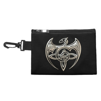 Silver And Black Dragon Trine Celtic Knots Art Accessories Bag