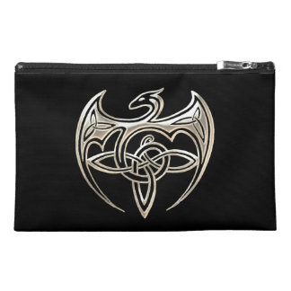 Silver And Black Dragon Trine Celtic Knots Art Travel Accessories Bags