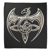 Silver And Black Dragon Trine Celtic Knots Art Bandana