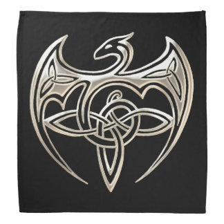 Silver And Black Dragon Trine Celtic Knots Art Bandana