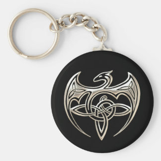 Silver And Black Dragon Trine Celtic Knots Art Basic Round Button Keychain