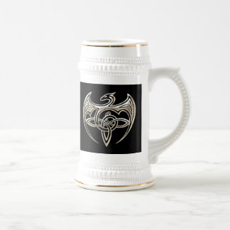 Silver And Black Dragon Trine Celtic Knots Art Beer Stein