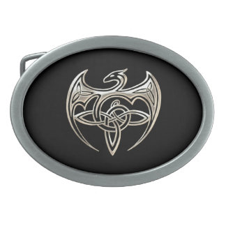 Silver And Black Dragon Trine Celtic Knots Art Oval Belt Buckles