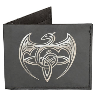 Silver And Black Dragon Trine Celtic Knots Art Billfold Wallet