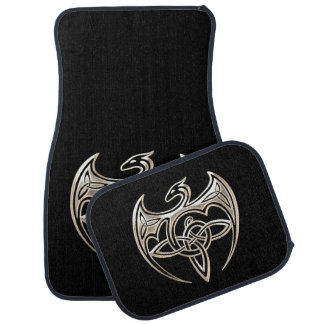 Silver And Black Dragon Trine Celtic Knots Art Car Floor Mat