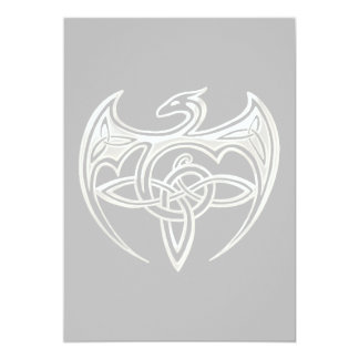 Silver And Black Dragon Trine Celtic Knots Art Card