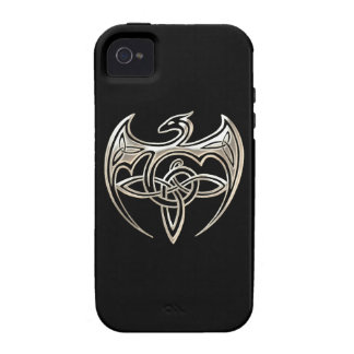 Silver And Black Dragon Trine Celtic Knots Art Case-Mate iPhone 4 Cover