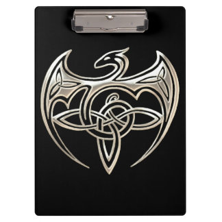Silver And Black Dragon Trine Celtic Knots Art Clipboard