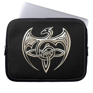 Silver And Black Dragon Trine Celtic Knots Art Computer Sleeves