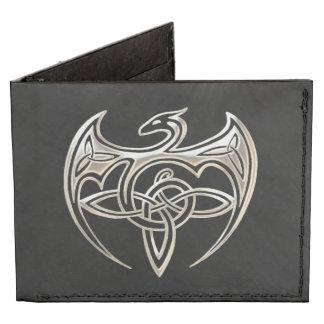 Silver And Black Dragon Trine Celtic Knots Art Tyvek® Billfold Wallet