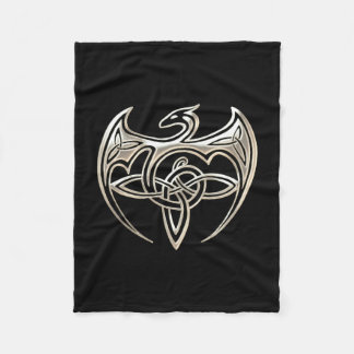 Silver And Black Dragon Trine Celtic Knots Art Fleece Blanket