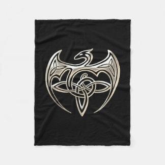 Silver And Black Dragon Trine Celtic Knots Art Fleece Blanket