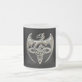 Silver And Black Dragon Trine Celtic Knots Art Frosted Glass Coffee Mug
