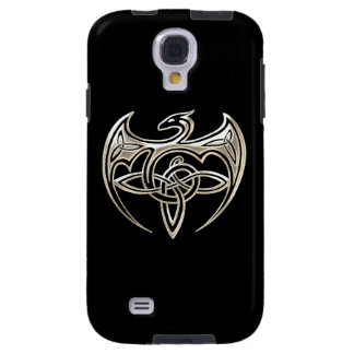 Silver And Black Dragon Trine Celtic Knots Art Galaxy S4 Case