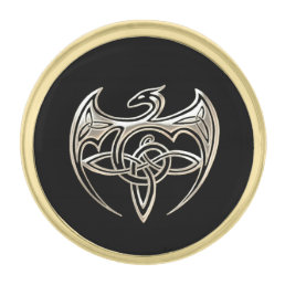 Silver And Black Dragon Trine Celtic Knots Art Gold Finish Lapel Pin