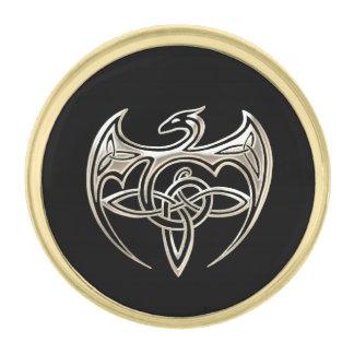 Silver And Black Dragon Trine Celtic Knots Art Gold Finish Lapel Pin