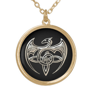 Silver And Black Dragon Trine Celtic Knots Art Gold Plated Necklace