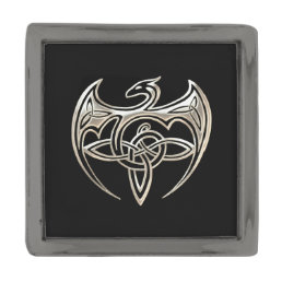 Silver And Black Dragon Trine Celtic Knots Art Gunmetal Finish Lapel Pin