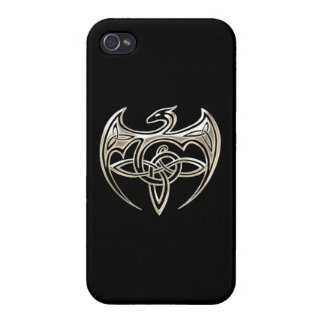 Silver And Black Dragon Trine Celtic Knots Art iPhone 4/4S Case