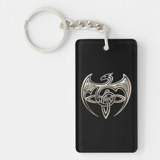 Silver And Black Dragon Trine Celtic Knots Art Double-Sided Rectangular Acrylic Keychain