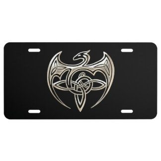 Silver And Black Dragon Trine Celtic Knots Art License Plate