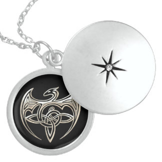 Silver And Black Dragon Trine Celtic Knots Art Locket Necklace