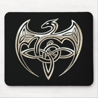Silver And Black Dragon Trine Celtic Knots Art Mouse Pad