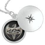 Silver And Black Dragon Trine Celtic Knots Art Round Locket Necklace