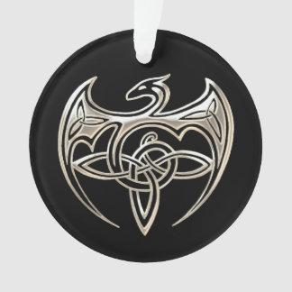 Silver And Black Dragon Trine Celtic Knots Art Ornament