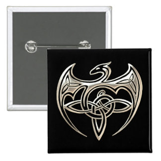 Silver And Black Dragon Trine Celtic Knots Art Pinback Button