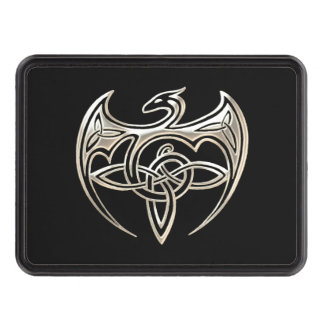 Silver And Black Dragon Trine Celtic Knots Art Tow Hitch Covers