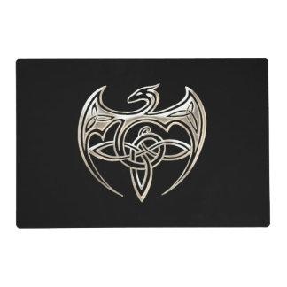Silver And Black Dragon Trine Celtic Knots Art Placemat