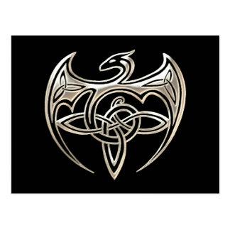 Silver And Black Dragon Trine Celtic Knots Art Postcard