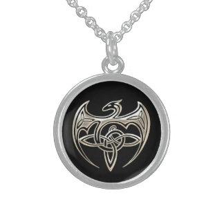 Silver And Black Dragon Trine Celtic Knots Art Round Pendant Necklace