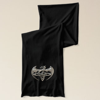 Silver And Black Dragon Trine Celtic Knots Art Scarf