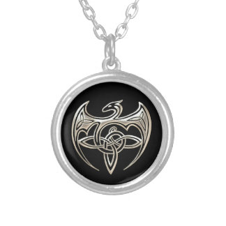 Silver And Black Dragon Trine Celtic Knots Art Silver Plated Necklace