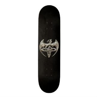 Silver And Black Dragon Trine Celtic Knots Art Skate Deck