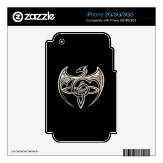 Silver And Black Dragon Trine Celtic Knots Art iPhone 3GS Decals