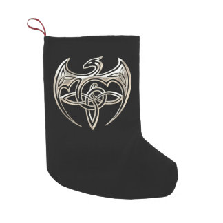 Silver And Black Dragon Trine Celtic Knots Art Small Christmas Stocking
