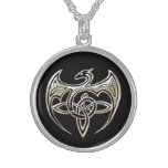 Silver And Black Dragon Trine Celtic Knots Art Sterling Silver Necklace