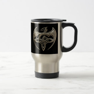 Silver And Black Dragon Trine Celtic Knots Art Travel Mug