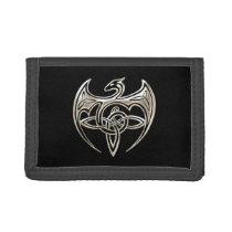 Silver And Black Dragon Trine Celtic Knots Art Tri-fold Wallet