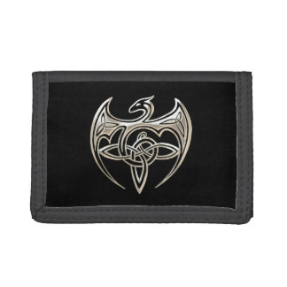 Silver And Black Dragon Trine Celtic Knots Art Tri-fold Wallet