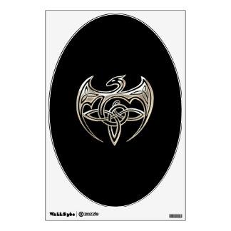 Silver And Black Dragon Trine Celtic Knots Art Wall Sticker